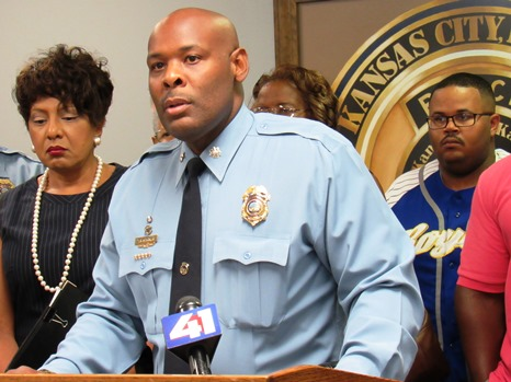 Deputy Police Chief Tyrone Garner called for a stop to the violence in the community. There have been four homicides since Tuesday. (Staff photo by Mary Rupert)