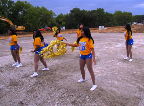 Schlagle cheerleaders and dance squad at the groundbreaking ceremony today for the new Amazon distribution facility in Kansas City, Kan. (Staff photo by Mary Rupert)