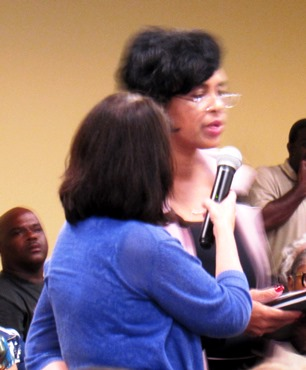 Karen Jones, at the community forum, said there had to be responsibility on the part of the community and the police. (Staff photo by Mary Rupert)