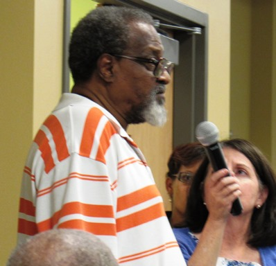 """Richard Mabion at the forum discussed a lack of employment, as well as a """"demonic spirit."""" (Staff photo by Mary Rupert)"""