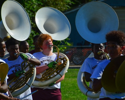 Members of the Washington High School Marching Band participated in a Battle of the Bands with Wyandotte High School following the Leavenworth Road Parade. (Photo by Brian Turrel)