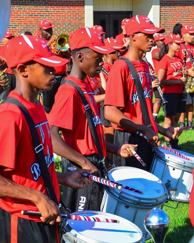 Members of the Wyandotte High School Marching Band drum line participated in a Battle of the Bands with Washington High School following the Leavenworth Road Parade. (Photo by Brian Turrel)