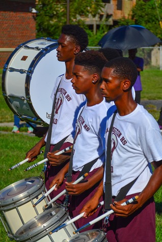 Members of the Washington High School Marching Band drum line participated in a Battle of the Bands with Wyandotte High School following the Leavenworth Road Parade. (Photo by Brian Turrel)