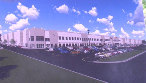 The new Amazon distribution facility in Kansas City, Kan., in an architect's rendering.