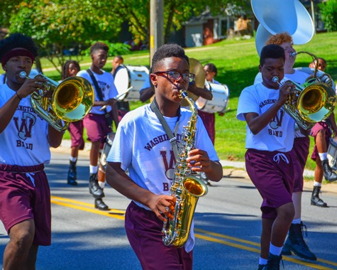 Members of the Washington High School Marching Band marched in the Leavenworth Road Parade on Sept. 18. (Photo by Brian Turrel)