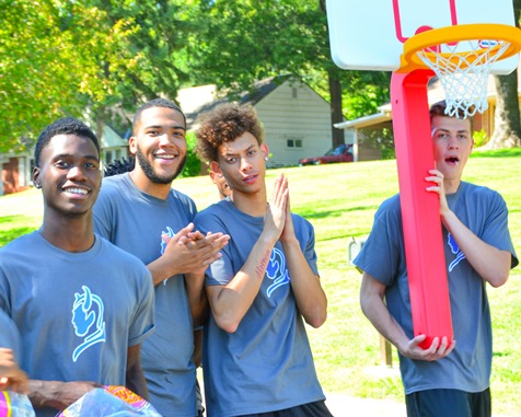 Members of the Kansas City Kansas Community College men's basketball team marched together in the Leavenworth Road Parade on Sept. 18. (Photo by Brian Turrel)