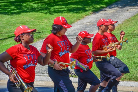 Members of the Wyandotte High School Marching Band marched in the Leavenworth Road Parade on Sept. 18. (Photo by Brian Turrel)