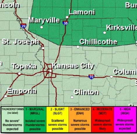 Severe weather outlook today and tonight. (National Weather Service graphic)