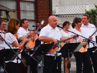 Members of the band Hrvatski Običaj entertained the crowd at Slovenefest with traditional eastern European music on Sept. 24 in Kansas City, Kan.  The annual event celebrates Slovenian heritage with traditional food and music at Holy Family club. (Photo by Brian Turrel)