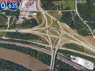 A bridge ramp on eastbound I-70 to northbound I-635 will close for bridge deck pavement repair work beginning at 9 a.m. Monday, Oct. 24, and reopening at 2:30 p.m. Friday, Oct. 28. (KDOT illustration)