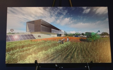 An artist's rendition of the proposed American Royal development in western Wyandotte County. The artist's rendition was on display at the announcement today at the Media Center of the Kansas Speedway.