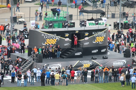 Jennifer Jo Cobb, a driver from Kansas City, Kan., during driver introductions at the start of the race. (Fan photo)