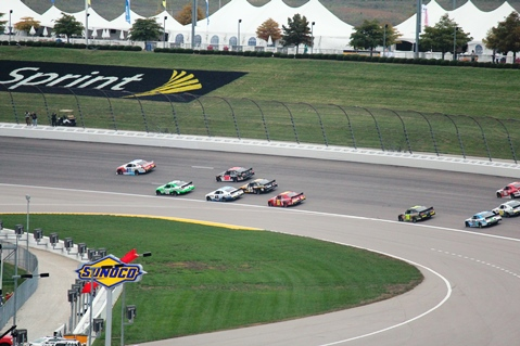 Racing action from the NASCAR XFINITY Series Kansas Lottery 300 race Saturday at the Kansas Speedway in Kansas City, Kan. (Fan photo)