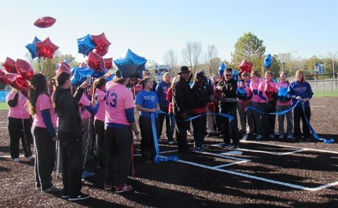 The ribbon was cut Saturday morning for the new KCKCC softball field and facility. (Staff photo)