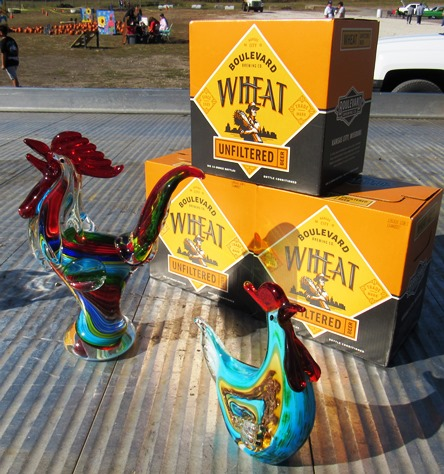 The winners of the wife-carry contest received these trophies and beer. (Staff photo)