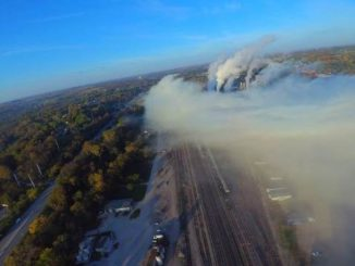A view of a chemical plume in Atchison, Kan., as seen from a drone, this morning. The photo was taken by a drone sent up by a resident, and was shared by KDOT.