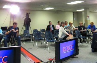 Several people attended a candidate forum on Monday night at Kansas City Kansas Community College. The forum will be shown at a later date on the KCKCC cable channel. (Staff photo)