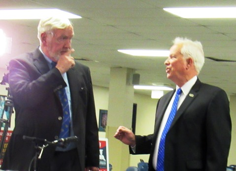 State Sen. Steve Fitzgerald, R-5th Dist., left, and Democratic challenger Bill Hutton chatted before the start of their portion of the election forum Monday night at Kansas City Kansas Community College. (Staff photo)