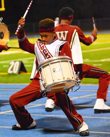 The Washington High School Marching Band's drum line performed at halftime of the football game against Harmon on Oct. 14. (Photo by Brian Turrel)