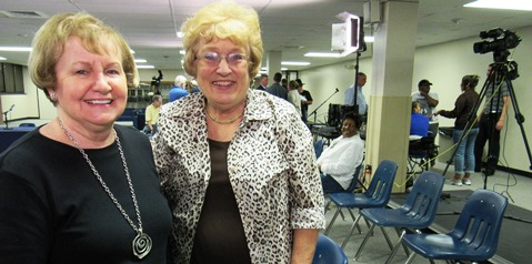 Former Rep. Margaret Long, left, and state Board of Education member Janet Waugh attended the candidate forum on Monday night at Kansas City Kansas Community College. Shirley Ikerd is on the right in the photo. (Staff photo(