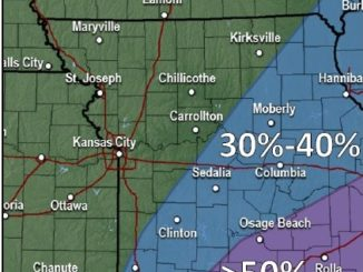 Rain is possible today east of the Kansas City area. Today's weather forecast is cloudy and a high of  69. (National Weather Service graphic)