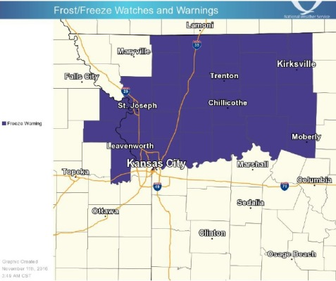 Freeze warning issued