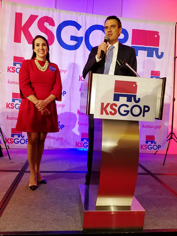 "U.S. Rep. Kevin Yoder, R-3rd Dist., said, ""As of now, I don't know if we won. I wanted to thank all those Yoder voters. One thing I do know is we have a Republican Senate and Congress."" He made the statement at the Kansas Republican watch party held at the Overland Park Marriott. Johnson County had reported just 129 out of 630 precincts in this contest by 1 a.m. Wednesday. (Photo by William Crum)"