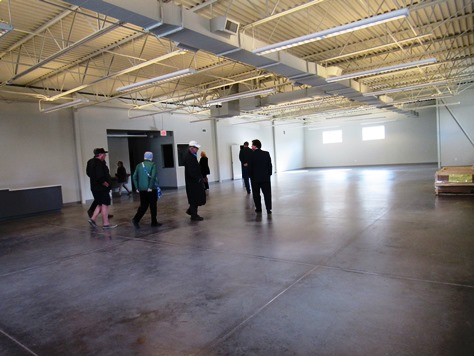 Inside the new Cross-Lines building are large areas for storing food and commodities. (Staff photo by Mary Rupert)