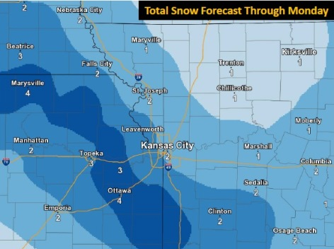 Snow forecast through Monday