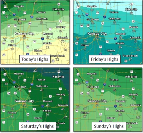 Falling temperatures Friday with a wintry mess possible Saturday