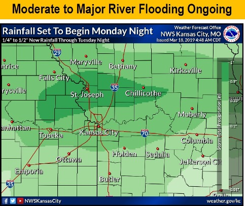 Flooding and rainfall chart showed from a quarter to a tenth of an inch of rain is possible in Wyandotte County Monday night and Tuesday. (National Weather ...